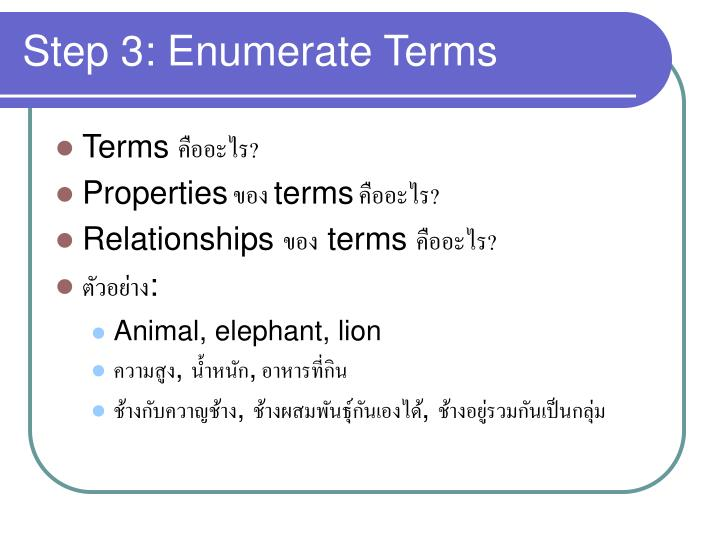 Step 3: Enumerate Terms