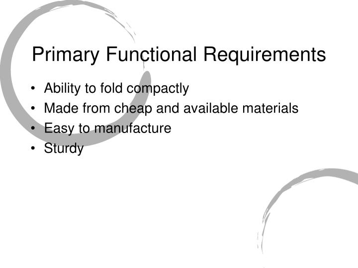 Primary Functional Requirements