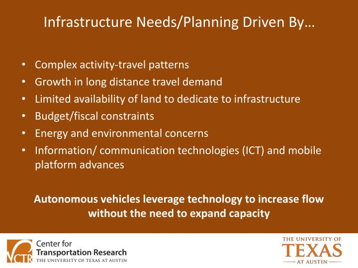 Infrastructure Needs/Planning Driven By…
