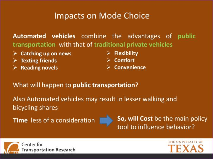Impacts on Mode Choice