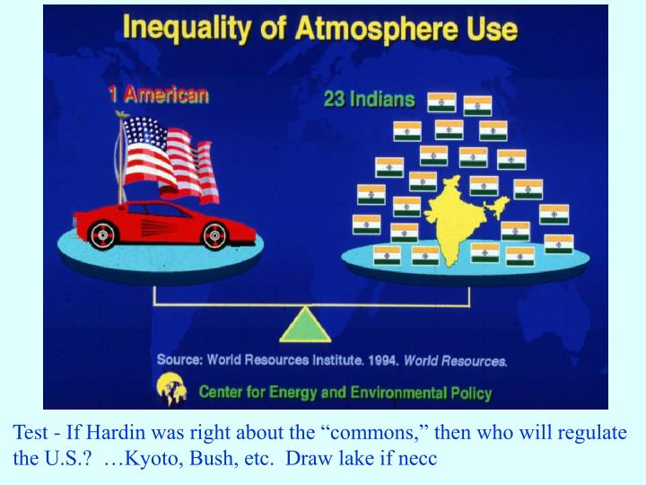 """Test - If Hardin was right about the """"commons,"""" then who will regulate"""