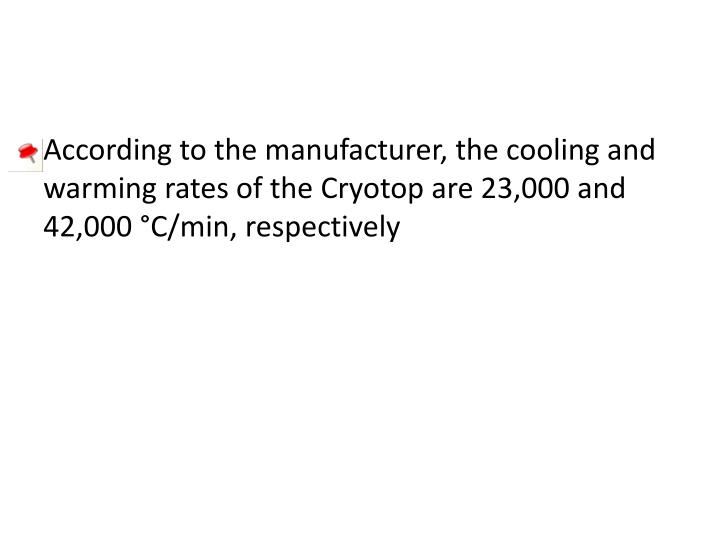 According to the manufacturer, the cooling and warming rates of the