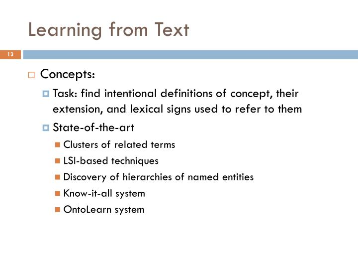 Learning from Text