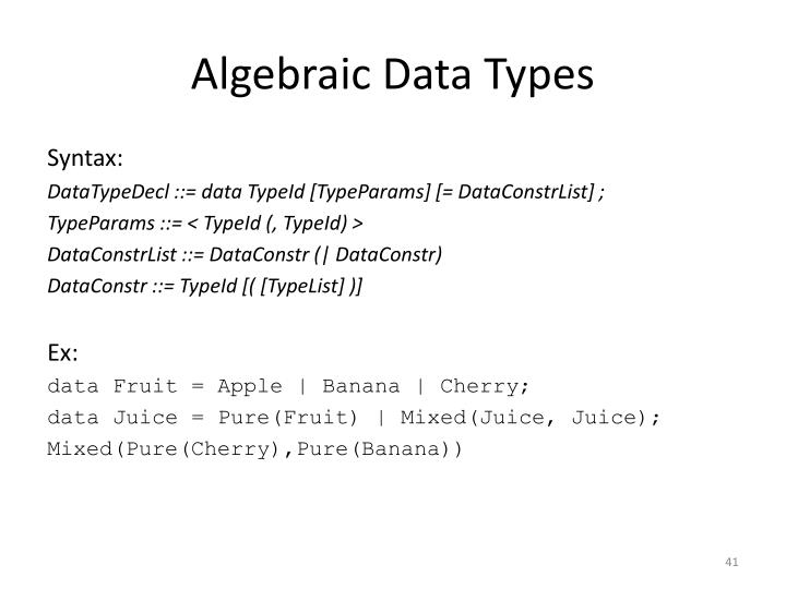 Algebraic Data Types