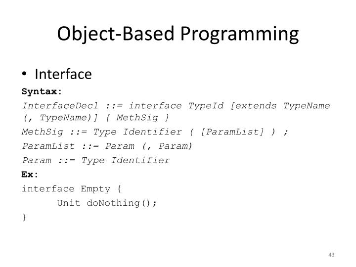 Object-Based Programming