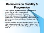 comments on stability progression