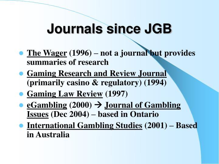 Journals since JGB