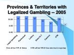 provinces territories with legalized gambling 2005