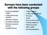surveys have been conducted with the following groups