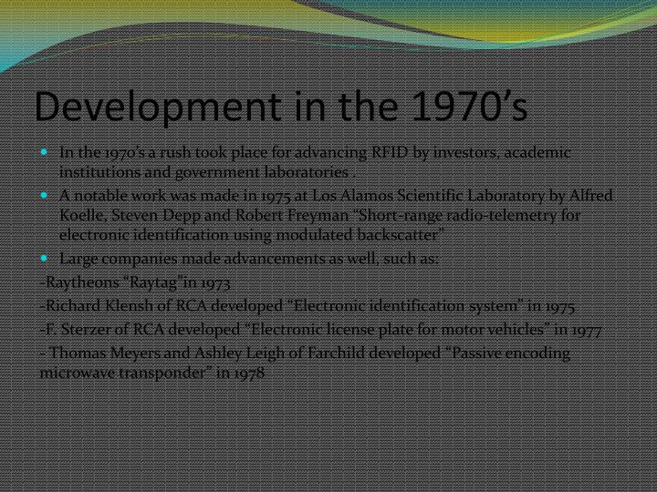 Development in the 1970's