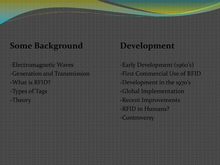 Some BackgroundDevelopment