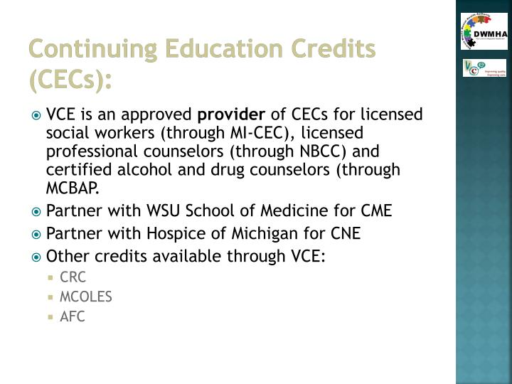 Continuing Education Credits (