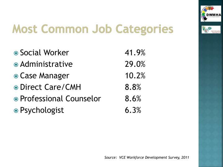 Most Common Job Categories