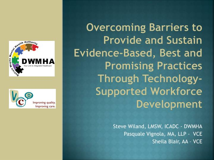 Overcoming Barriers to Provide and Sustain Evidence-Based, Best and Promising Practices Through Technology-Supported Workforce Development