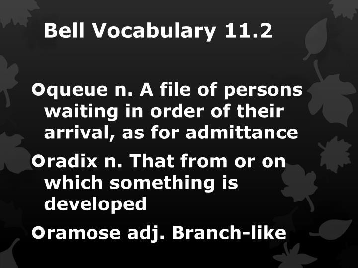 Bell Vocabulary 11.2