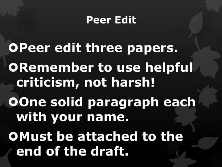 Peer Edit