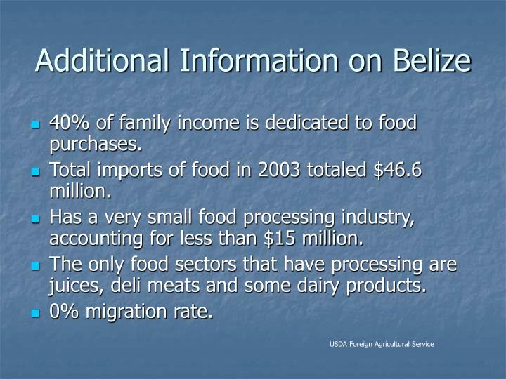 Additional Information on Belize