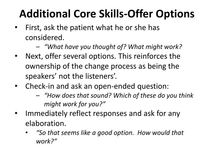 Additional Core Skills-Offer Options