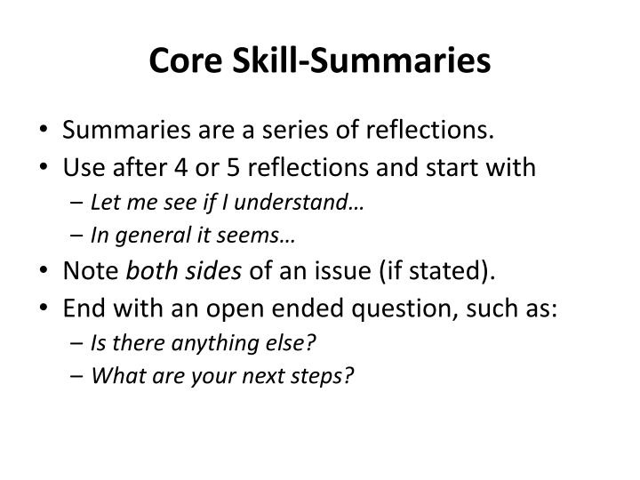 Core Skill-Summaries