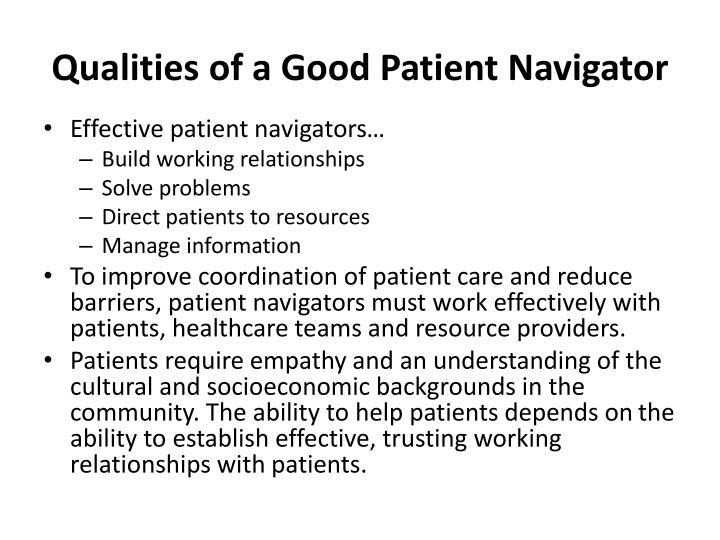 Qualities of a Good Patient Navigator