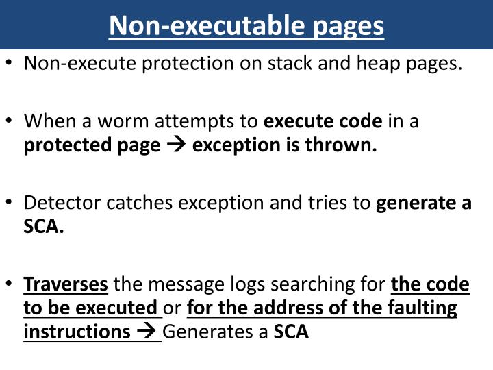 Non-executable pages