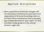 applied disciplines
