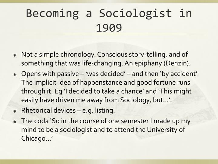 Becoming a Sociologist in 1909
