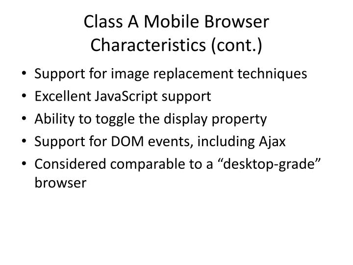 Class A Mobile Browser
