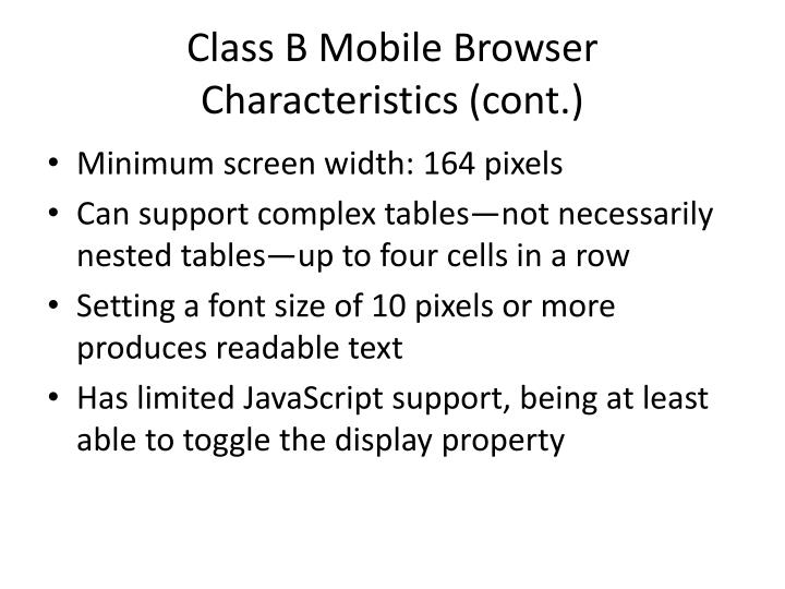 Class B Mobile Browser