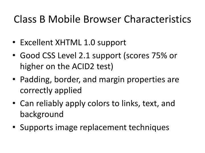 Class B Mobile Browser Characteristics