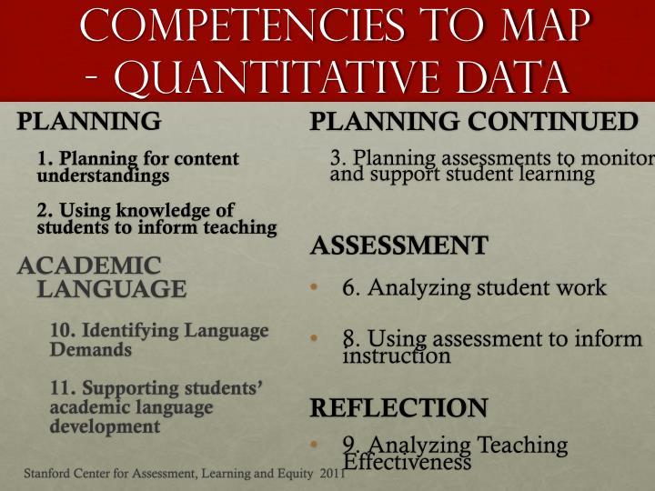 Competencies To Map - QUANTITATIVE DATA