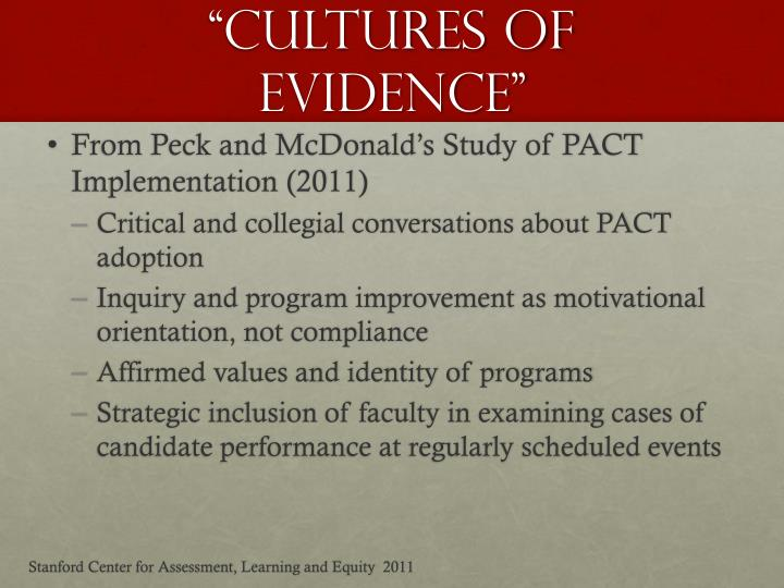 """""""Cultures of Evidence"""""""
