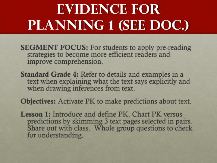 EVIDENCE FOR Planning 1 (SEE DOC.)