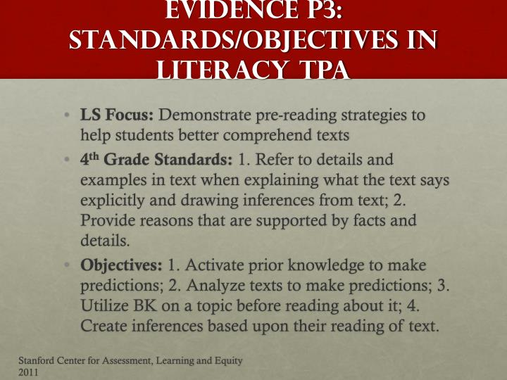 Evidence P3: Standards/Objectives in Literacy TPA