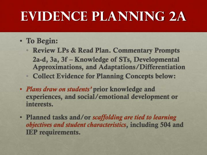 Evidence Planning 2A