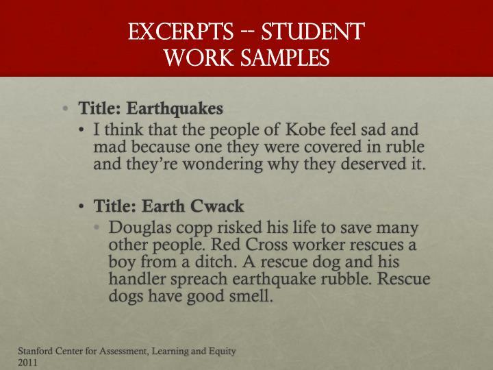 Excerpts -- STUDENT