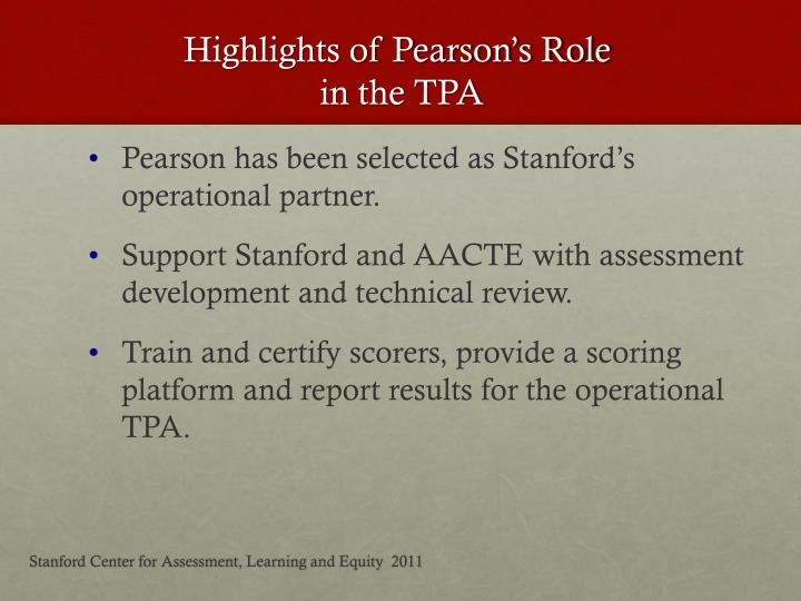 Highlights of Pearson's Role