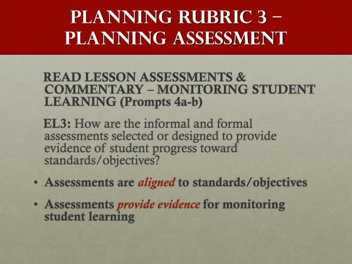Planning Rubric 3 –