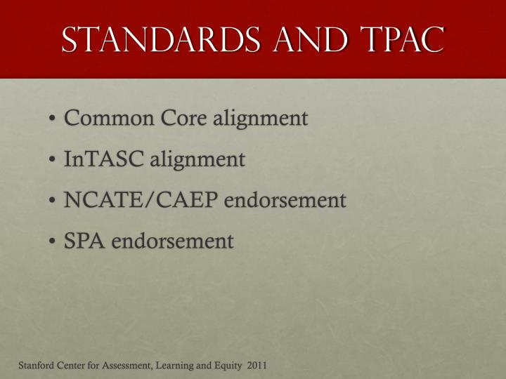 Standards and tPAC