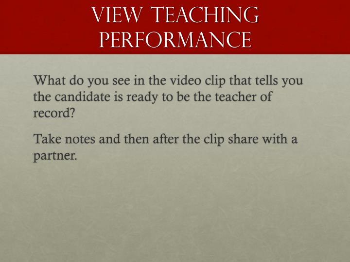 View Teaching Performance
