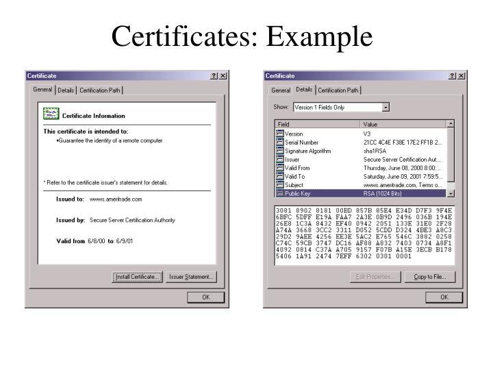 Certificates: Example