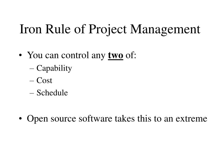 Iron Rule of Project Management