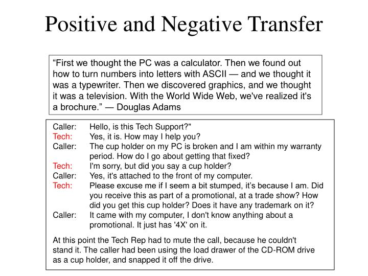 Positive and Negative Transfer