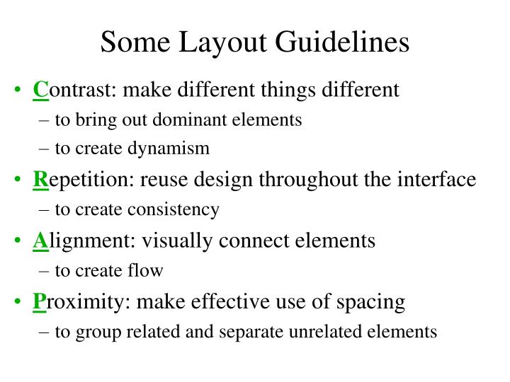 Some Layout Guidelines
