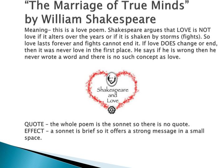 """""""The Marriage of True Minds"""""""