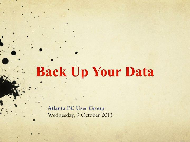 Back Up Your Data