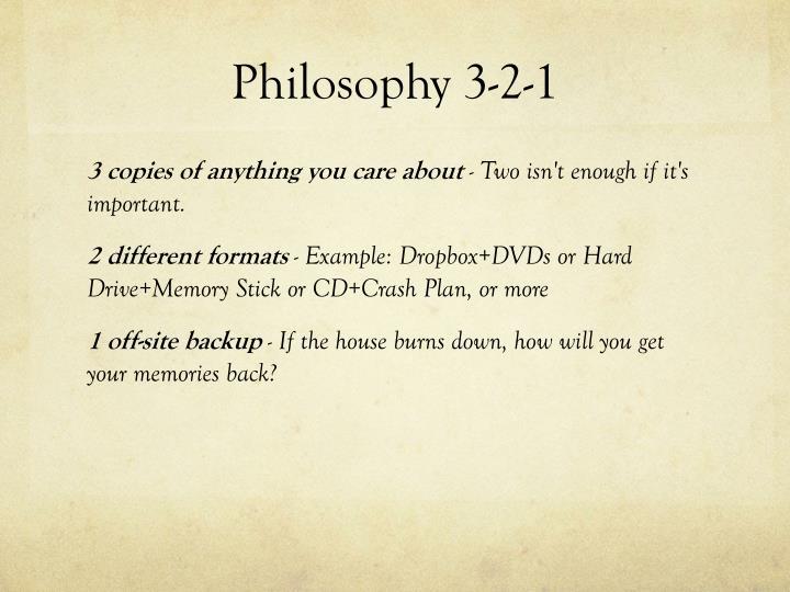 Philosophy 3-2-1