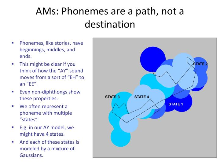 AMs: Phonemes are a path, not a destination
