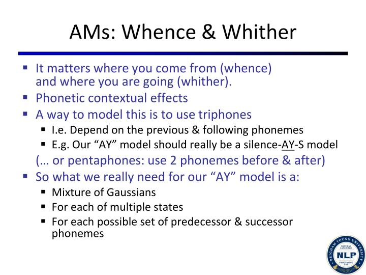 AMs: Whence & Whither