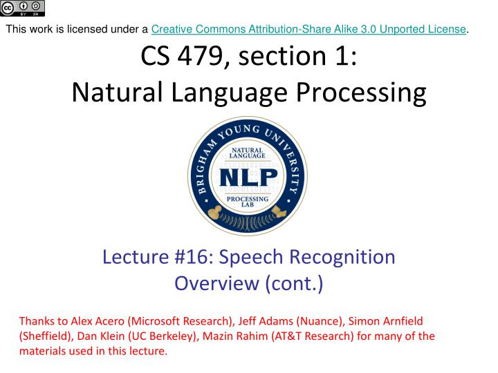 Cs 479 section 1 natural language processing
